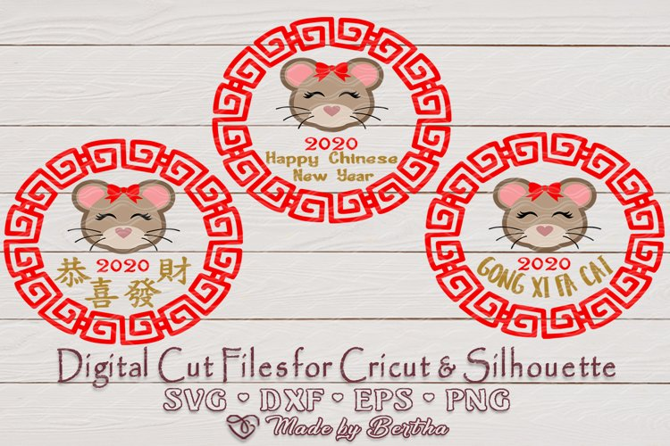 Chinese New Year, Year of the Rat, CNY, Red color, SVG file