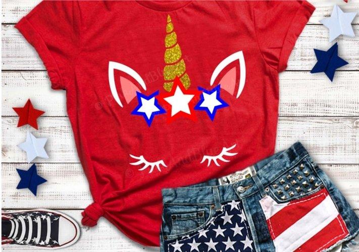 Unicorn svg - 4th of july svg - Star svg - USA svg - Memorial day - Summer svg - Independence day svg - Cut files- SVG - DXF - png - pdf-eps example image 1