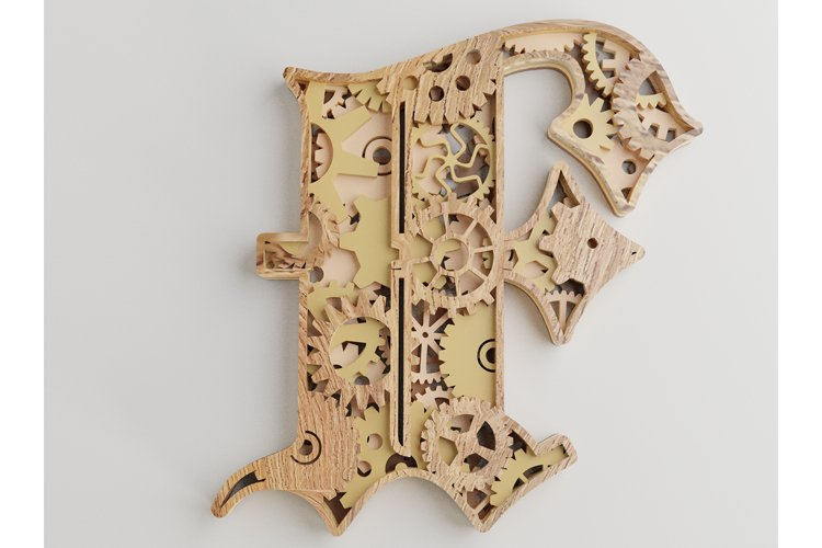Layered Letter F - 5 layers - SteamPunk Alphabet - laser cut example image 1