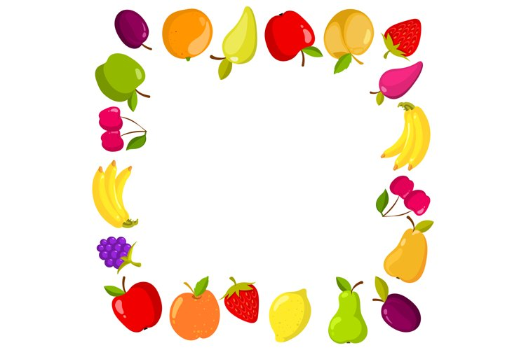Vector square banner with fruits example image 1