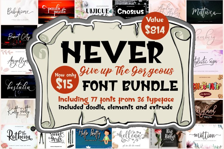 Never Give Up Gorgeous Font Bundle example image 1