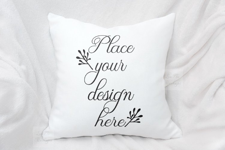 White pillow mockup cushion template autumn winter mock up