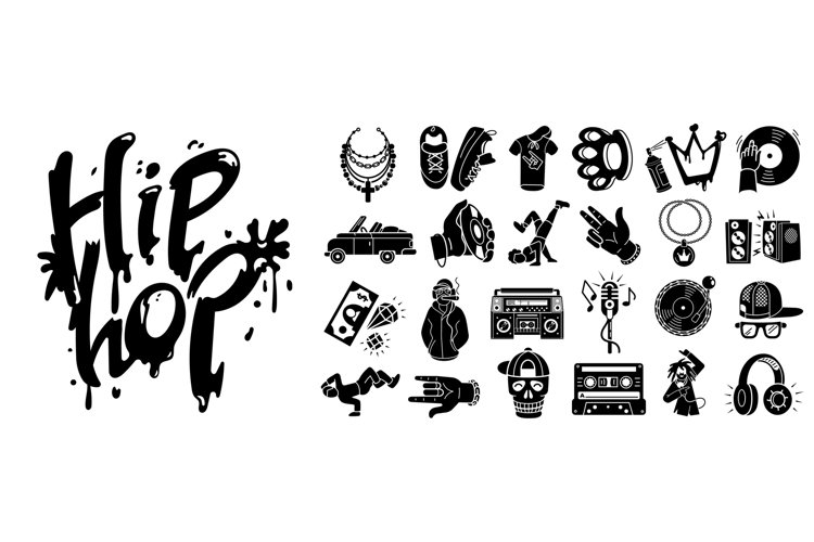 Hiphop icons set, simple style