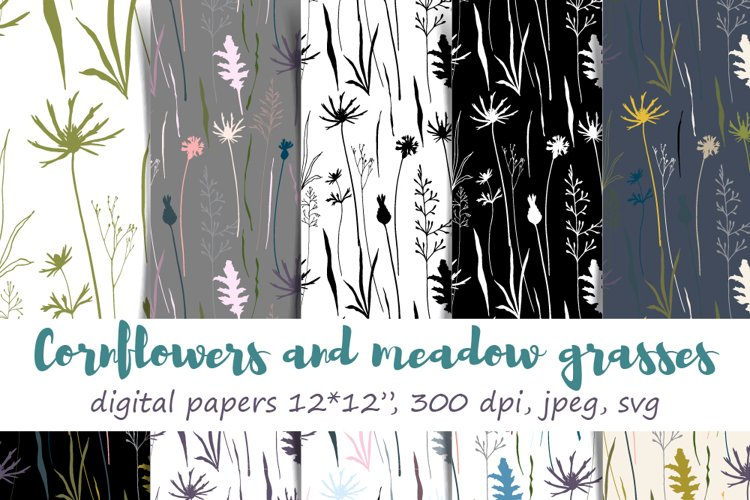 Cornflowers and Meadow Grasses Digital Paper : 10 floral patterns, 12 by 12 inch, jpeg and svg, 300 dpi, hand drawn florals example image 1