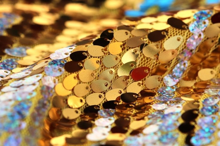 Colorful sequins textile background example image 1