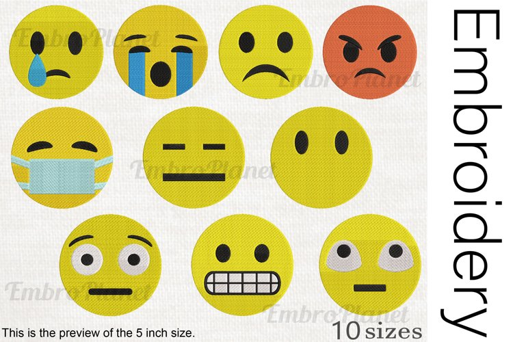 Not Fun Emoji - Embroidery files - 1510e