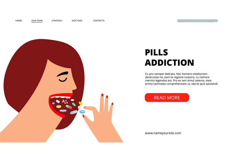 Pills addiction web page example image 1