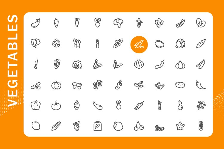 Vegetable icons set example image 1