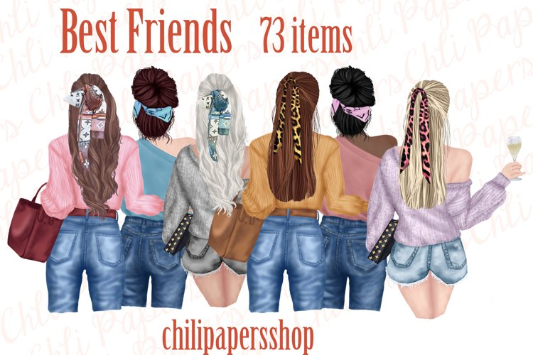 Best Friends Clipart,Fashion girls,Portret creator,BFF Mug example image 1