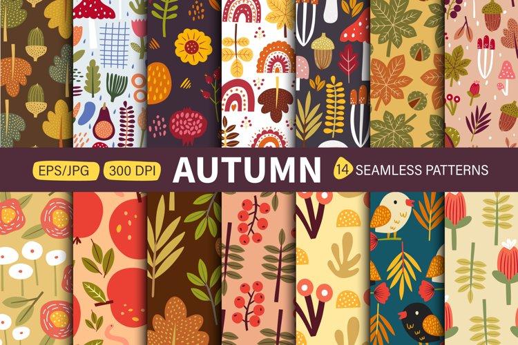 Autumn seamless patterns. Modern fall seasonal decor. example image 1