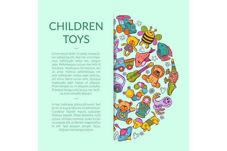 Vector round pile of kid toys illustration example image 1