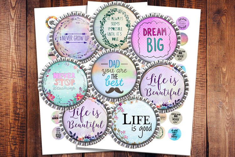 Inspirational Quotes, Jewelry making, Digital Collage Sheet example image 1