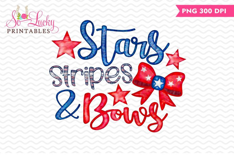 Stars Stripes & Bows printable sublimation design example image 1