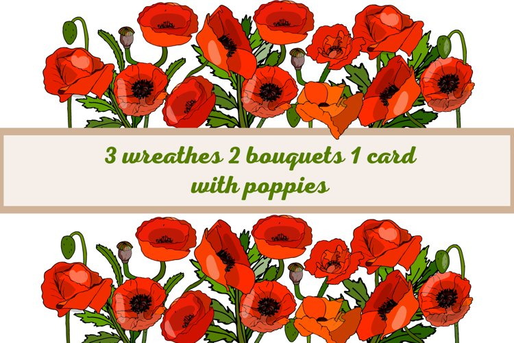 Card and wreaths with poppies. example image 1