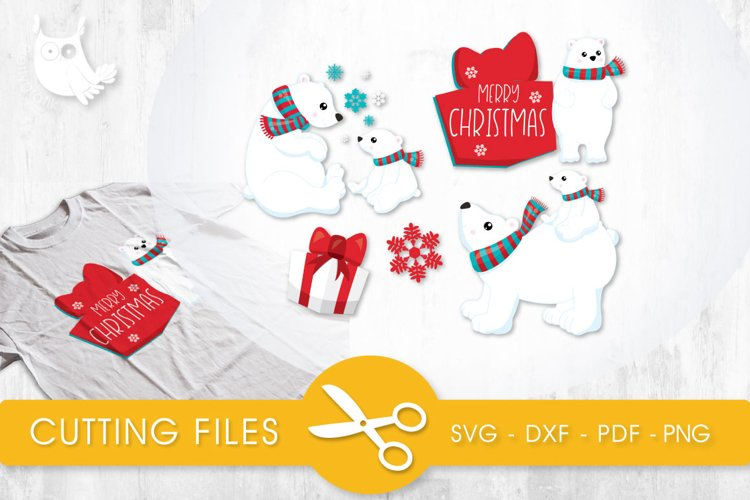 Christmas Polar Bears cutting files svg, dxf, pdf, eps included - cut files for cricut and silhouette - Cutting Files SVG example image 1