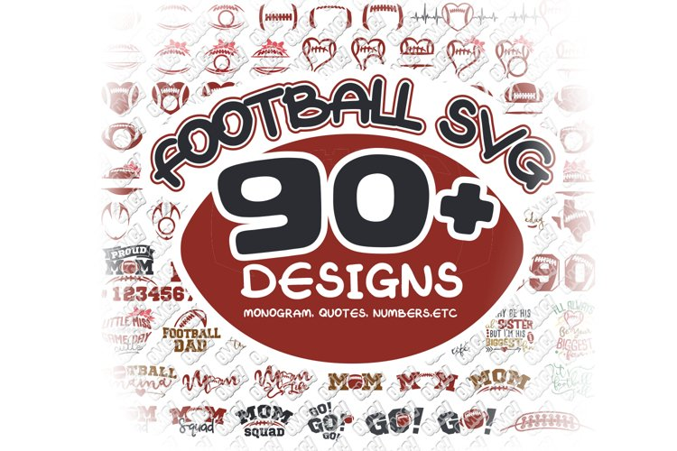 Football SVG Monogram Bundle in SVG, DXF, PNG, EPS, JPG example image 1