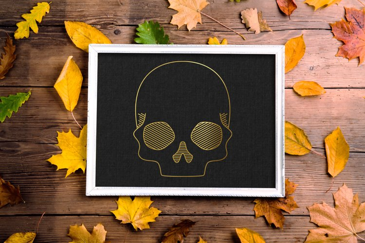 Realistic Skull SKETCH Single Line Pen & Foil Quill SVG