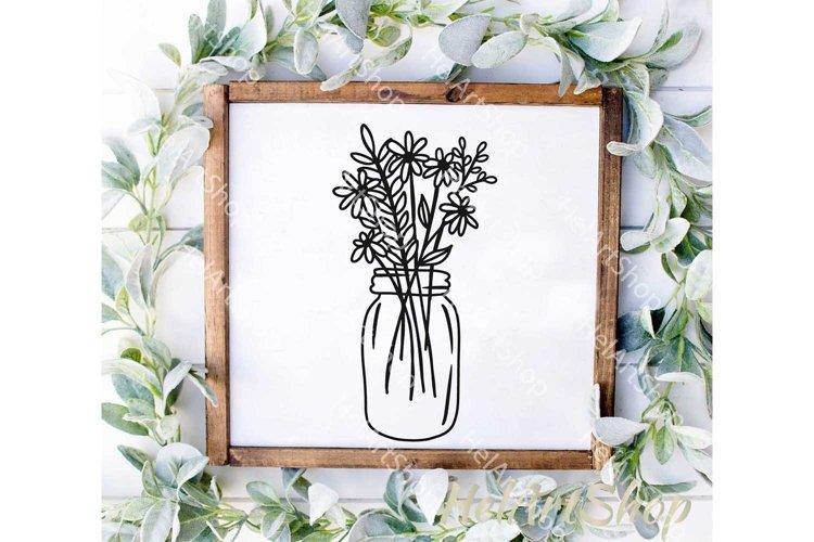 Mason Jar svg, Wildflowers Bouquet svg, Botanical svg
