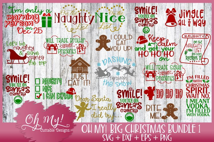 Oh My! Big Christmas Bundle 1 - 20 Designs SVG EPS DXF PNG example image 1