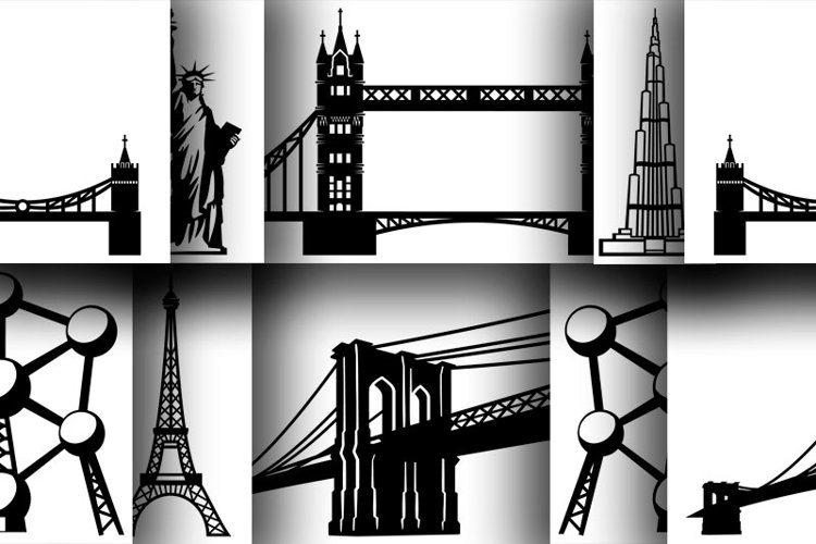 6 Architectural monuments in silhouettes for print, for cut example image 1