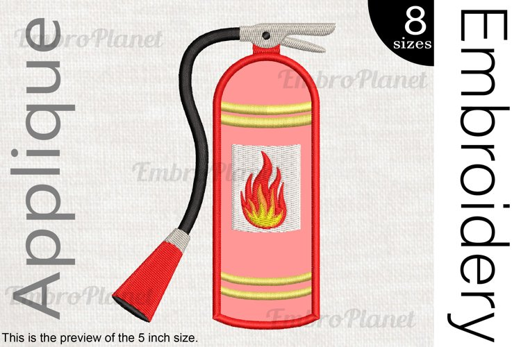 Applique Extinguisher - Embroidery Files - 1496e example image 1