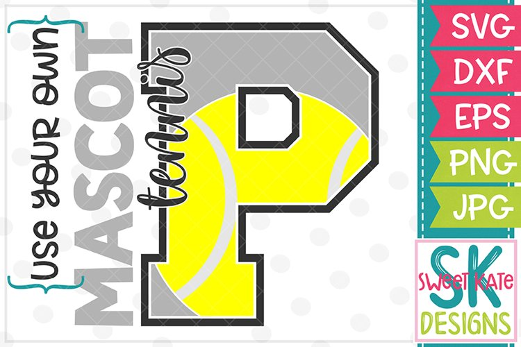 Your Own Mascot P Tennis SVG DXF EPS PNG JPG example image 1