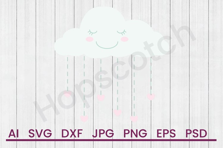 Rain Cloud SVG, DXF File, Cuttatable File example image 1