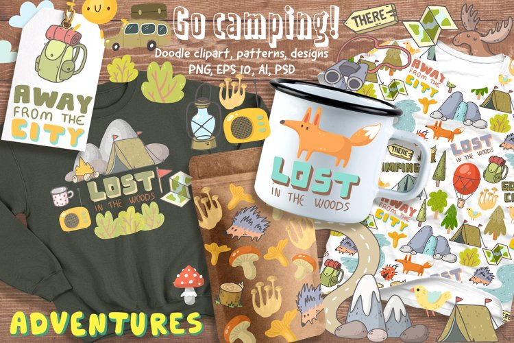Camping clipart, patterns, designs example image 1