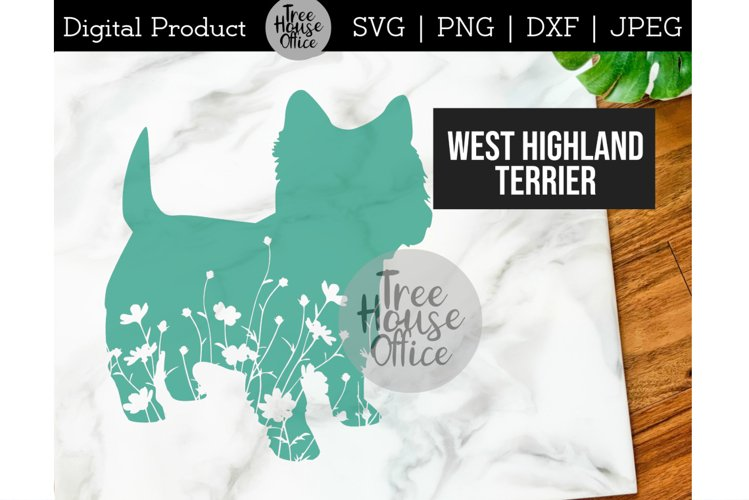 Westie SVG, Dog with Flowers SVG PNG, West Highland Terrier