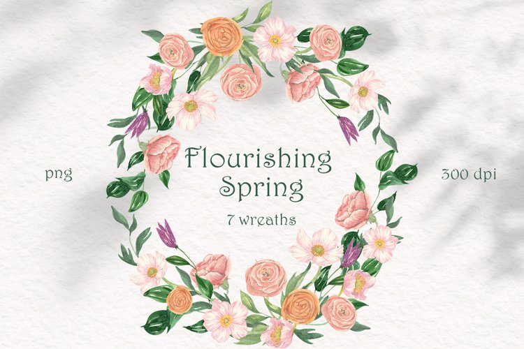 Flourishing Spring - 7 Flower Wreaths PNG