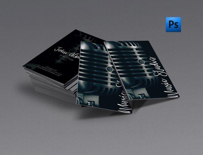 Music studio singer business card example image 1