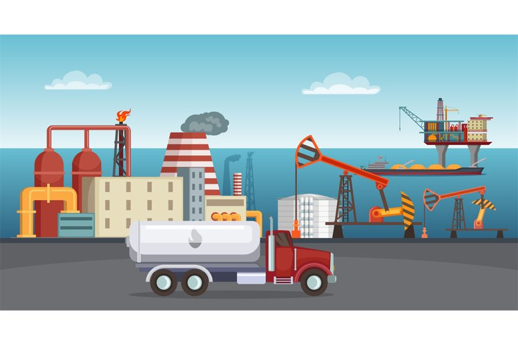 Background illustration of petroleum industry. Oil refinery, example image 1