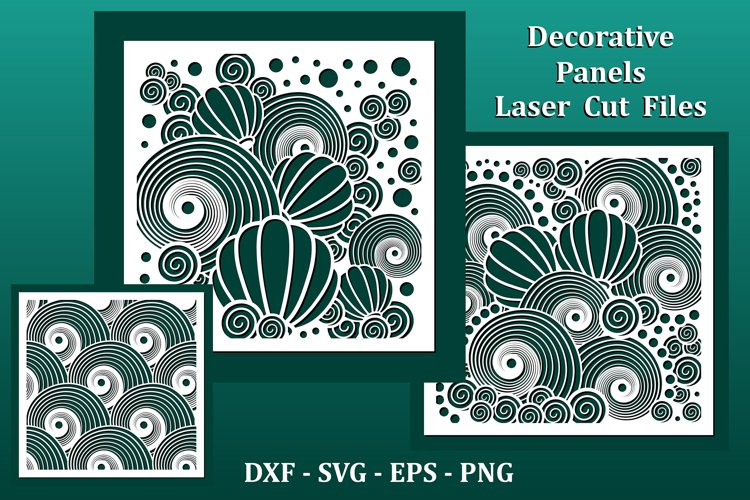 Laser cut Panels, files for CNC. Nautical underwater pattern example image 1