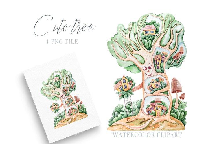 Watercolor cute nursery tree clipart. Cute illustration example