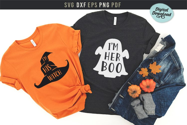 I'm his witch, I'm her boo couples Halloween Svg design, Pri example image 1