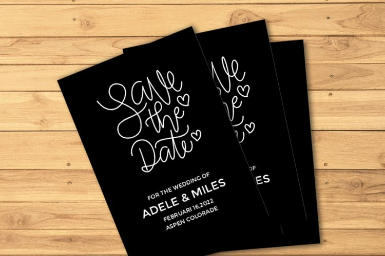 Single Line - Hair Line Quote Save The Date example image 1