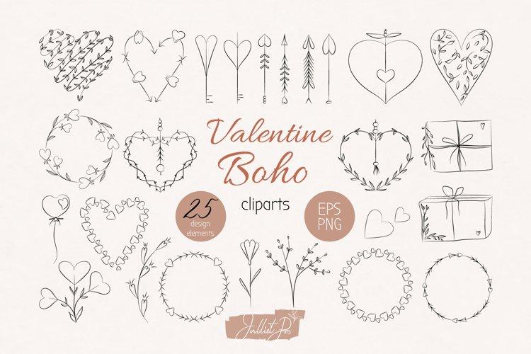 Boho Valentine clipart set