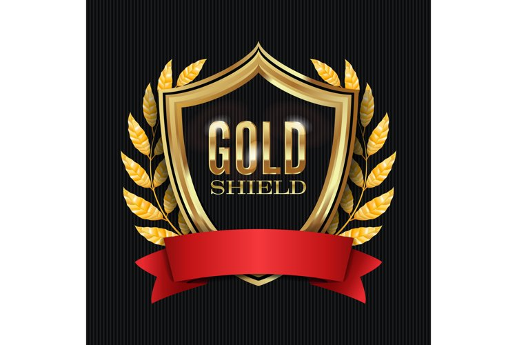 Golden Shield With Laurel Wreath And Red Ribbon. Vector example image 1