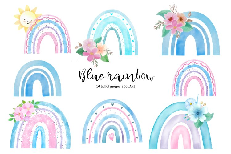 Watercolor blue rainbow with flowers clipart example image 1