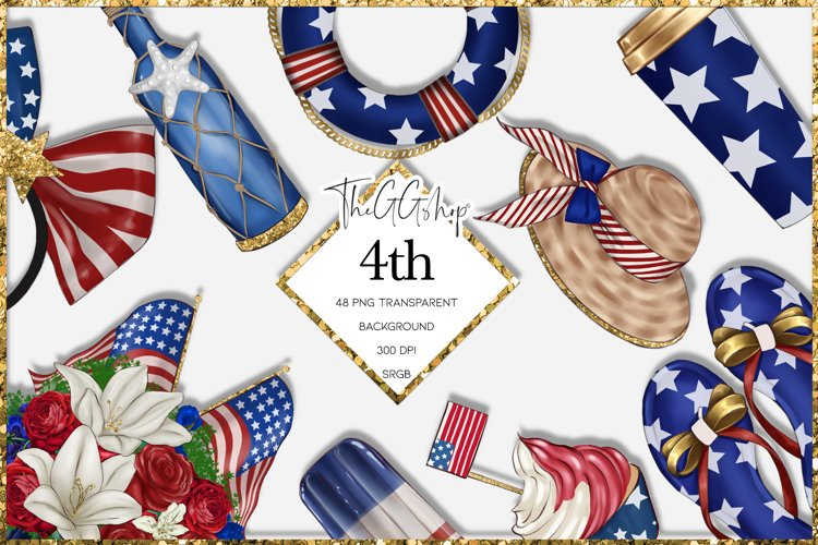 Independence Day 4th July Clipart Png Set