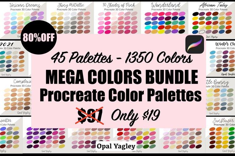 Procreate Color Palette Bundle -MEGA Pack 1350 Colors example image 1