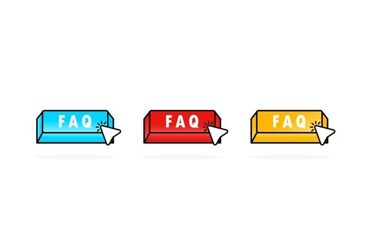 Faq button icon set with cursor. Pointer. Internet icon. example image 1