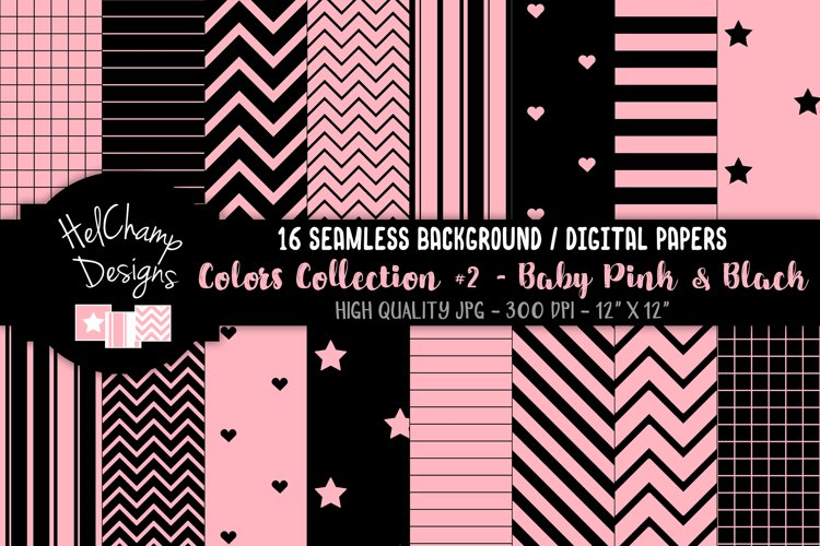 16 seamless Digital Papers - Baby Pink and Black- HC146