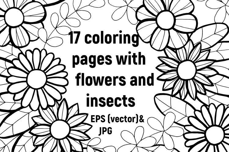 Coloring pages. Flowers and insects