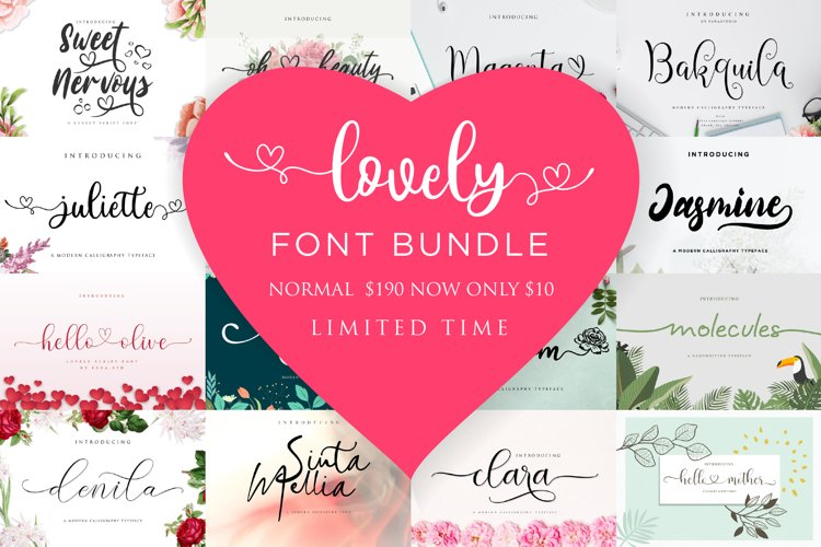 Lovely Font Bundle example image 1