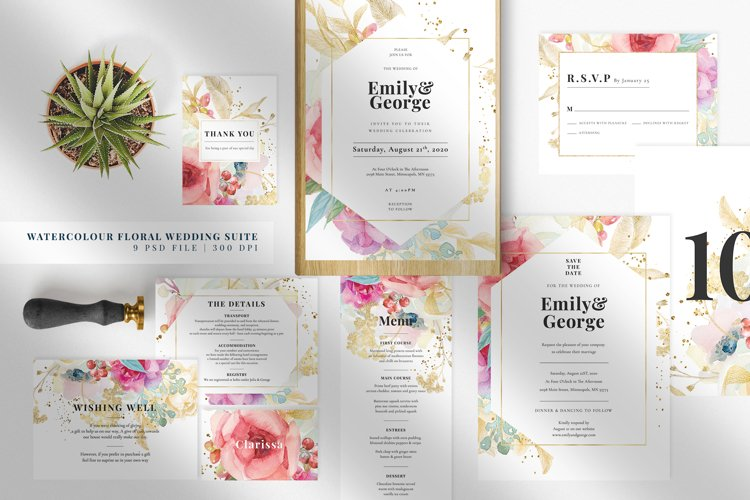 Watercolour Floral Wedding Suite example image 1