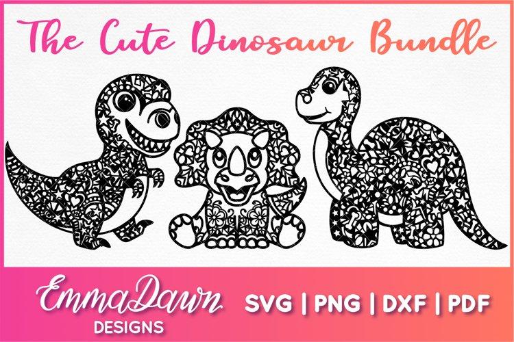 THE CUTE DINOSAUR BUNDLE SVG MANDALA / ZENTANGLE DESIGNS