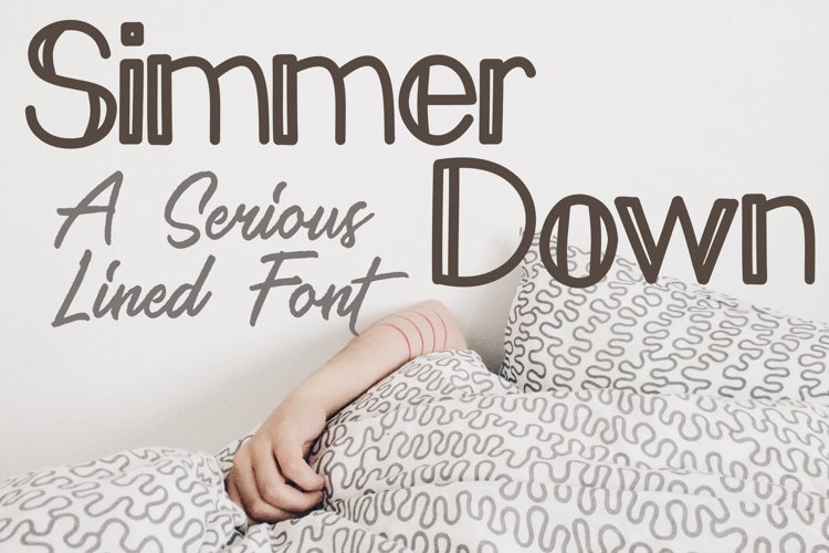 Simmer Down Lined Sans Serif Font example