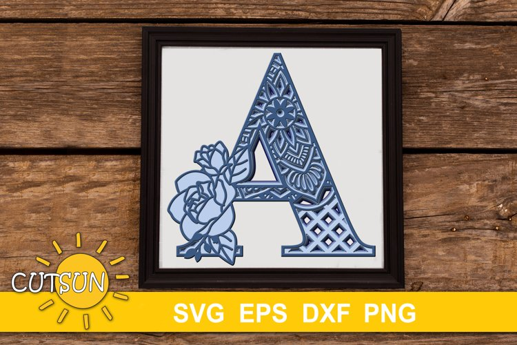 3D Alphabet Layered Mandala A - 5 layers SVG