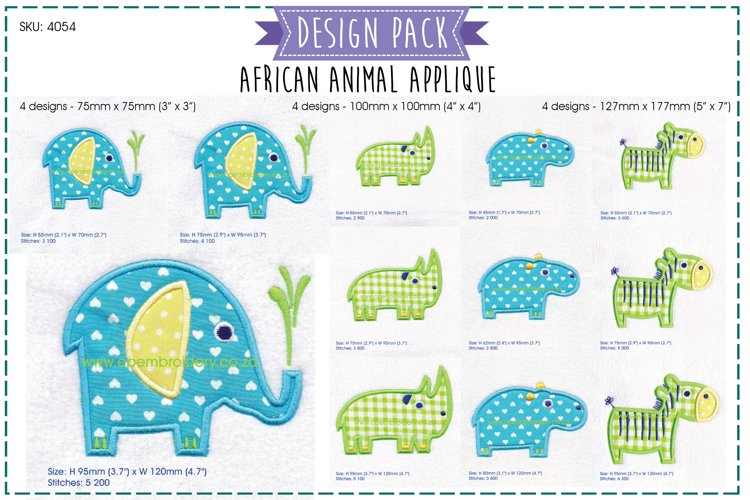 African Animal Applique Embroidery Complete Pack example image 1